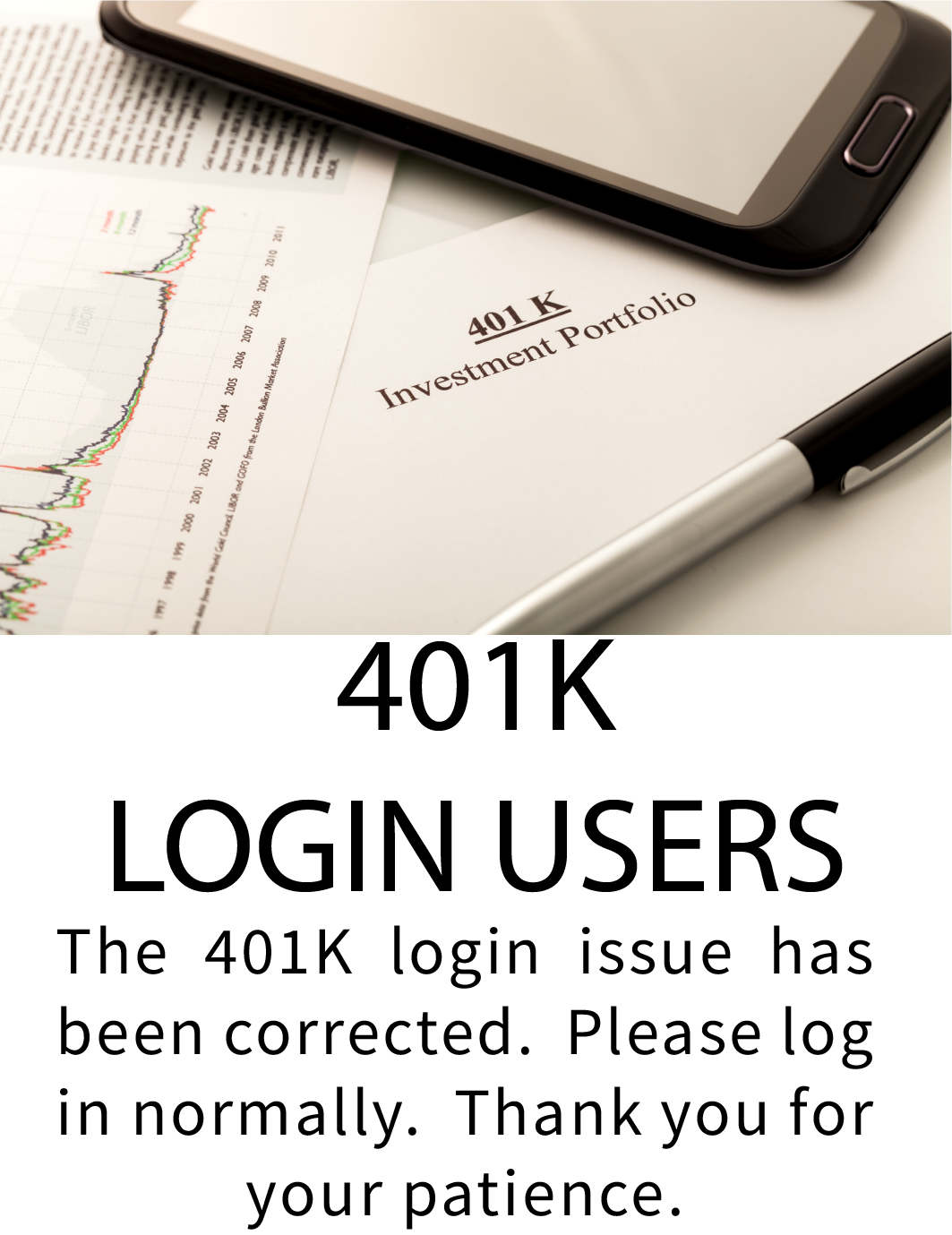 401k login has been corrected
