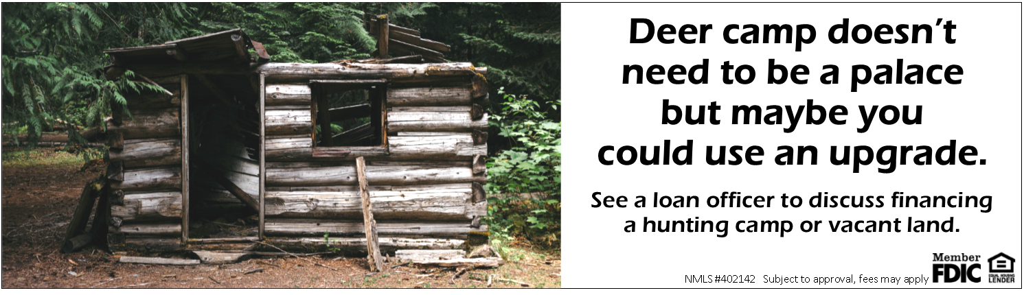 Picutre of run down cabin ad for a deer camp update