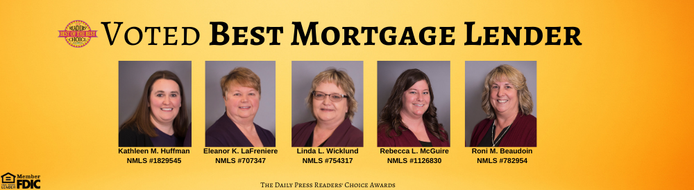 Voted best mortgage lender banner with photos of lenders