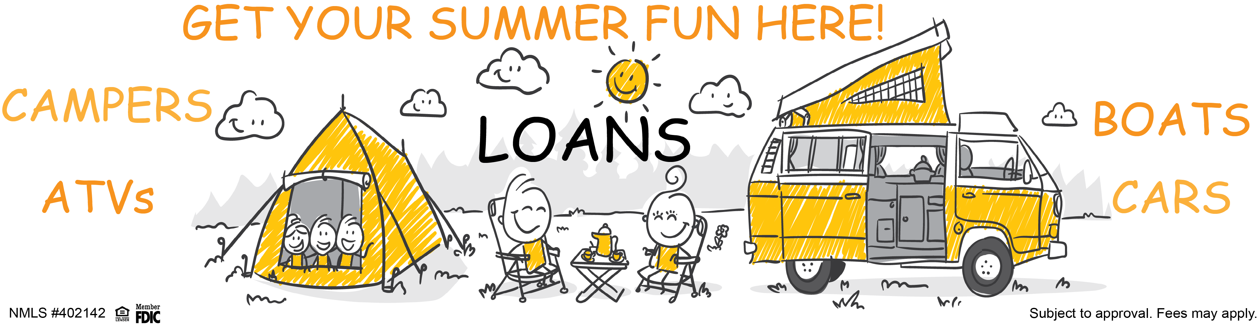 Cartoon of a family camping. Summer fun loans for recreational vehicles.