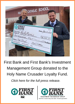 Photo of Robert Valentine and Joe Carlson, First Bank donated $2,000 to Holy Name